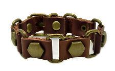 Mens Womens Brown Leather Matte Bronze Hexagon Studded Bracelet Buckle Closure