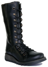 Fly London Ster768fly Ladies Womens Leather Casual Wedge Heel Mid Calf BOOTS Black 40