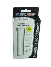 UltraMax White Power Bank 2600mAh Portable Rapid USB Charger Ultra Max Long Life