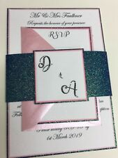 Rose Pink & Navy Glitter Wedding Invitations - Personalised With RSVP & Env