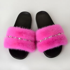 Women Fur Slides Slippers Real Whole Skin Mink Fur Indoor Slippers With Diamond
