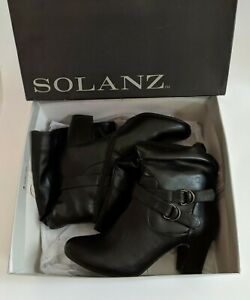 """Solanz Boots Black Faux Leather """"Poesy"""" Size 8.5M Knee High Women's Boots"""