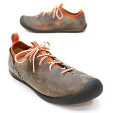 KEEN Ladies 39 (8.5) Brown Distressed Leather Lace-up Oxford Stitched Sneakers