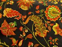 Vtg ANTIQUE Wild FLOWERS Black Yellow Green Red SILK Square Scarf Wrap 42x43