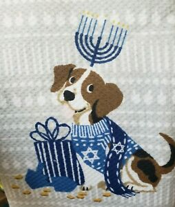 Hanukkah Dog Set of Two Kitchen Towels New Storehouse Holiday Jewish Beagle Pup