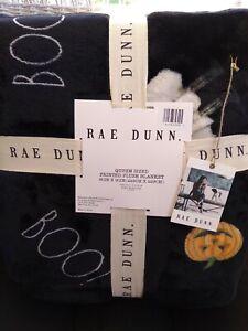 """Rae Dunn BOO Halloween Plush Throw Blanket Ghosts Pumpkins Queen Size 90"""" x 90"""""""