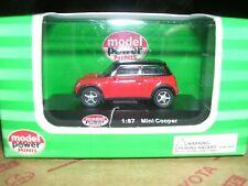 "MODEL POWER #19132  Mini Cooper  ""Red & Black""  H.O.Scale 1/87"