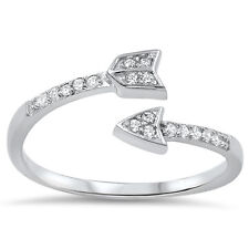 925 Sterling Silver Arrow Wrapping Knuckle Clear CZ Promise Ring Size 4-10 NEW