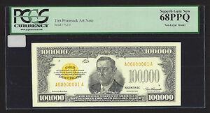 $100,000.00 Gold Certificate, Series 1934, Tim Prusmack Money Art, PCGS 68PPQ