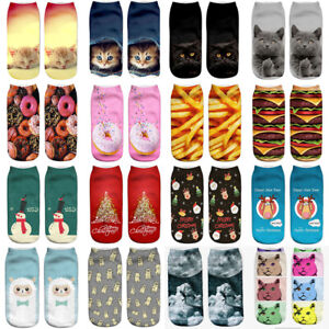 Fashion Unisex Animal Cute Cat Xmas Socks 3D Printed Low Cut Ankle Cotton Socks