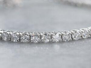 Diamond Tennis Bracelet 5.50 CT Round Cut Solid 14K White Gold VVS1 For Women's