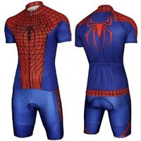 Spiderman Compression Short Sleeve Top Tee Jersey Adult Men Cycling Suit Costume