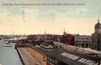 SARNIA ONTARIO CA~VIEW OF NORTH RIVER FRONT-POST OFFICE-NAVIGATION POSTCARD 1913