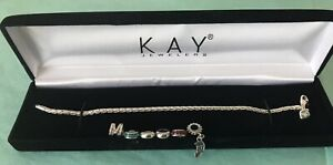 KAY JEWELERS CHARMED MEMORIES BRACELET WITH 6 ASSORTED CHARMS STERLING SILVER