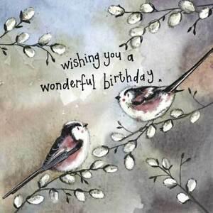 Starlight Long Tail Tits Birthday Card - Alex Clark Large Sparkle