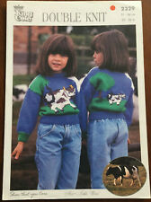 KNITTING PATTERN Farm Cow Front and Back Motif Jumper Childrens King Cole 2329