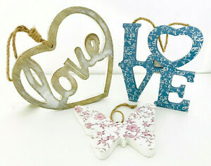 3xPRIMARK Decorative Plaque Blue Natural Hanging Love Word Pink Wooden Butterfly