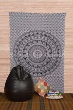 Ethnic Urban Mandala Tapestry Cotton Black & White Elephant Floral Wall Hanging