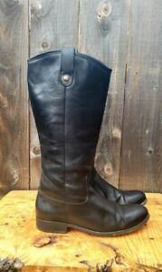 FRYE Women's Melissa Button Boot Black Leather 9.5 B Extended Calf