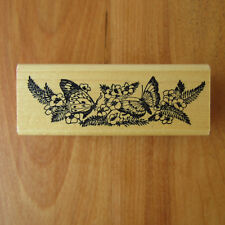 "Butterflies & Flowers Rubber Stamp by Embossing Arts Wood Mounted 3.75"" x 1.5"""