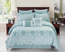 Queen Bedding Romantic Comforter Sets Blue and White Luxury Home Linens 8 PC