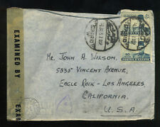 1945 World War Ii Cover Cairo Egypt To Los Angeles California Censored Soldier