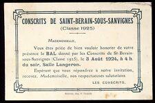 carte d'invitation bal des Conscrits SAINT-BERAIN-SOUS-SANVIGNES Saône-et-Loire