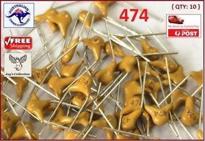 10 Pcs 0.47uF Monolithic Ceramic Capacitors 474 50V 470nF 474M [A4G~A16]