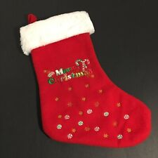 "Red Sparkle Christmas Stocking 13"" Long Beautiful Embroided NWOT BealsImport"