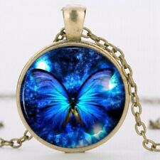 Beautiful Vintage Style Blue Butterfly Bronze Chain Pendant Necklace