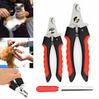 Pet Nail Dog Cat Claw Clippers Trimmer Scissors Grooming Cutters File 2 Sizes EN