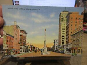 Vintage Old GEORGIA Postcard Augusta Broad Street Sears Department Store Signs