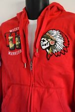 RARE ECKO UNLTD WEEKEND WARRIOR HOODIE SKULL NATIVE HEADDRESS PATCHES UNISEX