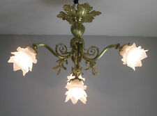 BEAUTIFUL FRENCH ART NOUVEAU CHANDELIER 1910 - BRONZE -