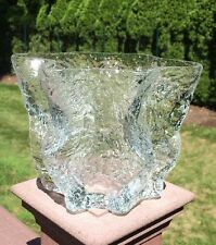 Vintage Scandinavian Art Glass Vase Raj Blomquist Pinched Clear Ice Style Signed