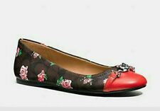 Coach Leila Clf/sig C Posey CLS Mahogany Pink/bright Red Women Slip on Size 11