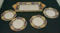 Vintage Royal Winton Grimwades Ming Blue Dragon Gold Sandwich Tray Plates
