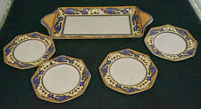 Vintage Royal Winton Grimwades Ming Blue Dragon Gold Sandwich Tray Plates