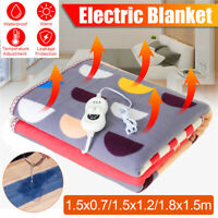 Flannel Electric Heated Blanket Warm Winter Cover Heater + Controller Waterproof