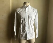 RAF SIMONS WHITE SPRING SUMMER 2008 COTTON BUTTON DOWN DRESS CASUAL SHIRT 52 L