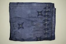 Vintage Black Floral Pure Silk Saree Traditional Embroidered Sari Wedding Wear