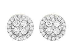 Ladies Men's 10K Yellow Gold Genuine Diamond Round Stud Earrings .60ct 8MM