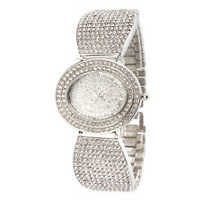 Alias Kim Oval Silver Crystal Face Case Women Quartz Wrist Bracelet Watch F151