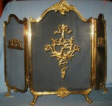 """Vintage Ornate Lacquered Brass Folding 3-Part Fireplace Screen 40 1/2""""W X 29""""H"""