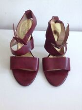 Kenneth Cole High Heel Ankle Strap Peep Toe Sandals UK 6.5 Burgundy All Leather