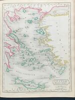 1829 ANCIENT AGEAN SEA GREECE HAND COLOURED MAP BY SIDNEY HALL 191 YRS OLD
