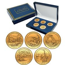 2014 Gold Plated US Mint National Park Quarters Set in Gift Box