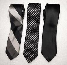 Lot of 3 Vintage Imported Italian All Silk Ties RN 21376 Black White GOOD COND