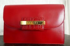 AUTHENTIC CELINE PARIS RED CLUTCH BOX EXCELLENT CONDITION MADE IN ITALY BAG LOGO