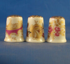 Birchcroft Thimbles -- Set of Three Gold Tops --- Assorted Gold Rose Designs